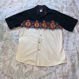 Wrangler Western Shirt Short Sleeve Size Large